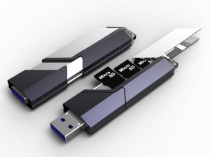 a black USB drive with Micro SD
