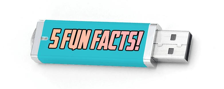 5 fun facts written on a USB drive